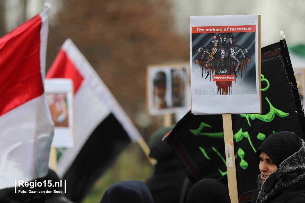 Dutch rally protesting Soleimani killing includes caricature blaming Jews